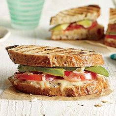 Avocado and Tomato Grilled Cheese Sandwiches | Cooking Light  #myplate #vegetables #wholegrain #dairy
