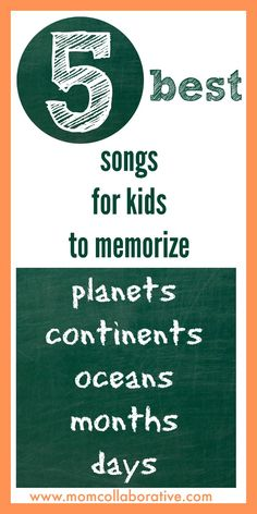 The best 5 songs to help kids memorize the planets, oceans, continents, months, and days of the week! Your kids will have these memorized in no time!