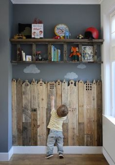 """This skyline chair rail with the added backdrop transforms an ordinary mudroom into a whimsical playroom. <br /><br />Photo: <a href=""""https://www.kollabora.com/projects/haba-s-houses-holland"""" target=""""_blank"""">Kollabora</a>"""