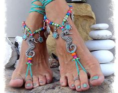 A new variation of previously sold GPyoga Turquoise LOVE barefoot sandals.  ~ Unique design by GPyoga ~ Please do not copy.  Exclusive of beaded anklets.