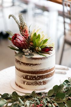 Sally & Troy's Sydney Rainforest Wedding - Karen Willis Holmes - Sally wore the sequin ARIA gown. A stunning halter neck figure hugging wedding gown with a beautifu - Floral Wedding Cakes, Wedding Cake Rustic, Fall Wedding Cakes, Rustic Cake, Floral Cake, Beautiful Wedding Cakes, Wedding Cake Designs, Wedding Cake Toppers, Beautiful Cakes