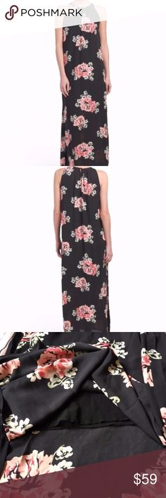 BNWT Katherine Barclay Rose Print Maxi Dress Gorgeous floral print, side slits, lined sleeveless, pleated neck, maxi dress. 55.5in long, taken from size 4, bust measurements pictured.  button back closure polyester imported machine wash Katherine Barclay Dresses Maxi