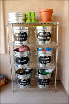 Organize Outside Toys With These Labeled Buckets.
