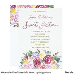 Watercolor Floral Rose Gold Sweet 16 Birthday Card #watercolor #floral #sweet16 #sweetsixteen #zazzle #invitations #birthday