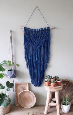This unique piece is made by hand using tshirtyarn made of recycled fabric out of the fashion industry. The used wood is a treebranche found on the North Seacoast of the Netherlands and its surrounded dunes/forest area. The branch is cleaned and sanded where needed. MACRAMÉ wall hanging