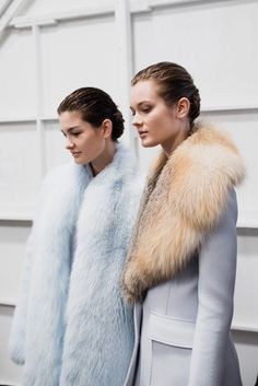 Pastel coloured fluffy and fur collared coats at Altuzarra Fall '15...x