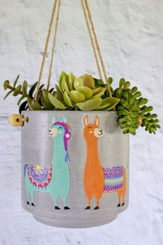 Llama decorated concrete succulent planter from Target Chica and Jo target HobbyLobby Hobbies For Women, Hobbies To Try, Cheap Hobbies, Hobbies That Make Money, Hobbies And Interests, Alpacas, Hobby Room, Hobby Lobby, Llama Decor