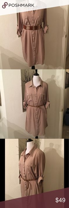 NWT: Khaki Shirtdress Safari vibe Dress.  Shirt hemlines, rolled sleeves.  Light 100% Polyester fabric.  Belts not included. Size 2X (18) Fashion to Figure Dresses
