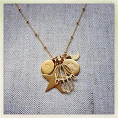 Hannah Charm Necklace from Marte Frisnes Jewellery Jewelry Shop, Gold Jewelry, Fine Jewelry, Gold Necklace, Jewellery, Hawaii Wedding, Personal Style, Charmed, Bling