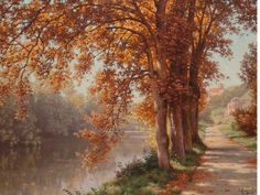 Rene Charles Edmond His  (French, 1877-1960) Autumn on the river.