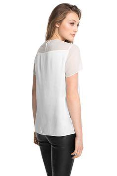 Esprit - Semi-transparente Bluse mit Satin-Partien im Online Shop kaufen