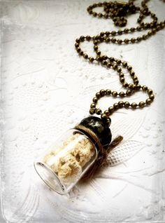 Antique Lace Necklace Soldered Vial Necklace Lace In by Mystarrrs, $24.00