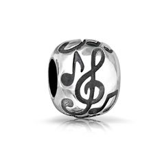 Bling Jewelry 925 Sterling Silver Round Musical Notes Charm Bead Fits Pandora