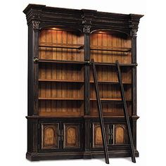 Hooker North Hampton Double Bookcase with Ladder