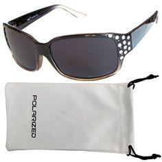 9dee0cbbe82 Vox Womens Polarized Sunglasses Designer Fashion Rhinestones Black and  Clear Frame Smoke Lens -- Read