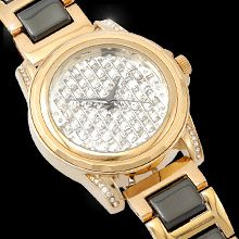 Glamour goes casual with this striking watch designed with a beautiful face encrusted with Swarovski's brilliant baguette crystal, encircled with black ceramic that is a perfect match to its suave bracelet. Jewelries, Perfect Match, Baguette, Pretty Face, Bracelet Watch, Swarovski, Glamour, Japanese, Ceramics