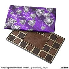 Purple Sparkle Diamond Hearts Chocolate Box 45 Piece Box Of Chocolates Chocolate Gifts, Chocolate Box, Purple Sparkle, Diamond Heart, Chocolates, Special Gifts, Colorful Backgrounds, Personalized Gifts, Hearts