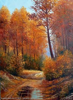Tree Photography, Autumn Photography, Landscape Photography, Fantasy Landscape, Landscape Art, Landscape Paintings, Autumn Painting, Autumn Art, Beautiful Paintings