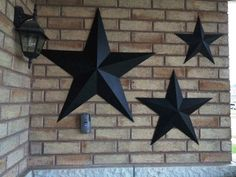 Set Of 3 Large Metal Tin Barn Star Wall Decor