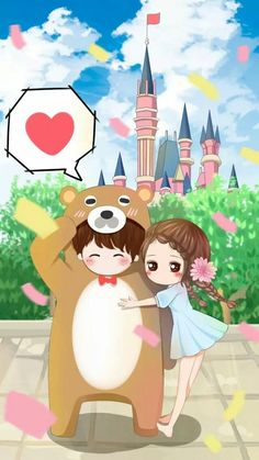 My Valentine: You & Me Forever Kawaii Chibi, Kawaii Cute, Kawaii Girl, Anime Chibi, Love Cartoon Couple, Chibi Couple, Anime Couples, Cute Couples, Proposal Pictures