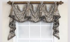 Sophia Victory Swag in beige touts a quatrefoil motif full of style and sheen   RLF Home