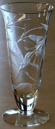 Hummingbird Hand Engraved Crystal by Catherine Miller of Catherine Miller Designs*Technique-Stone wheel *