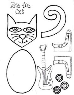 have your students build this groovy little cat simply accordion fold blue strips of paper more information more information pete the cat coloring page
