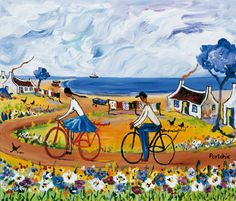 Art by Portchie Pictures To Draw, Art Pictures, Art Images, African Paintings, Bicycle Painting, South African Artists, Naive Art, Blue Art, Types Of Art