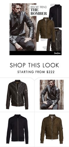 """Resort Trend: The Bomber"" by neimanmarcus ❤ liked on Polyvore featuring Burberry, Armani Collezioni, Helmut Lang, Valentino, men's fashion and menswear"