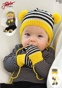 91383 Babyset med sting pattern by Järbo Garn Baby Hat Knitting Patterns Free, Knitted Mittens Pattern, Baby Hats Knitting, Knit Mittens, Knitting For Kids, Knitted Hats, Free Pattern, Baby Mittens, Baby Socks