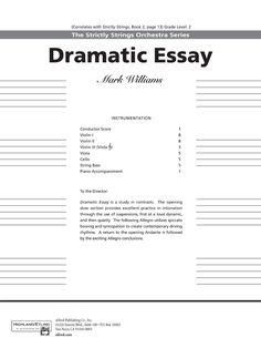 dramatic essay string orchestra Barber, samuel - (first) essay (first)  dramatic essay for orchestra,  which he had transcribed for full string orchestra from the string quartet of 1935.
