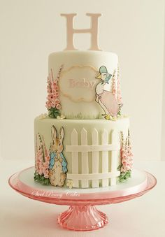 Beatrix Potter baby shower by Steel Penny Cakes Elysia Smith. What a cute cake idea! Baby Cakes, Girl Cakes, Cupcake Cakes, Peter Rabbit Cake, Peter Rabbit Birthday, Pretty Cakes, Cute Cakes, Beatrix Potter Cake, Beatrix Potter Nursery