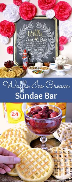Celebrate someone special with a delicious Waffle Ice Cream Sundae Bar, featuring tons of tasty toppings, plus a homemade Mixed Berry Compote! Ice Cream Mix, Waffle Ice Cream, Waffle Bar, Ice Cream Party, Sundae Bar, Delicious Desserts, Dessert Recipes, Berry, Popsicle Recipes