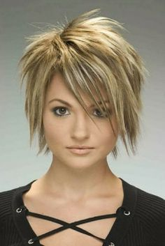 short hairstyles for women with round faces and thick hair - Google Search