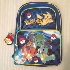 40d19ccd38 NEW Pokemon Pikachu Squitle Charmander Barbasaur Large Bag School Backpack