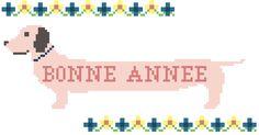 """Grille """"Bonne année"""" teckel Chien au point de croix - cross stitch dog"""