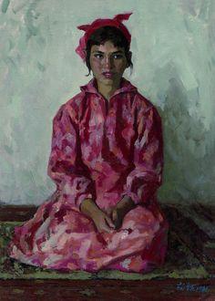 Jin Shangyi - Uyghur girl wearing a colorful dress (1981)