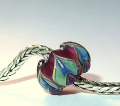 Luccicare Lampwork Bead - Antique Lotus -  Lined with Sterling Silver by Luccicare on Etsy