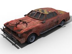 Here's a render of my post apocalyptic 1966 Mustang. It may not look like the actual 1966 model, but I mostly based everything off it. Apocalypse World, Post Apocalypse, Mad Max, Slum Village, Hot Rods, Monster Car, Death Race, Tiger Art, Garbage Truck