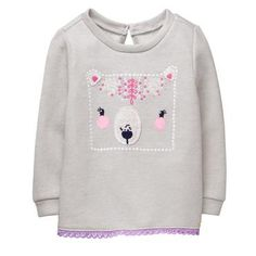 Toddler Girl Fog Grey Floral Bear Pullover by Gymboree Toddler Fashion, Toddler Outfits, Boy Outfits, Kids Fashion, Toddler Girls, Womens Fashion, Fall Clothes For Girls, Kids Clothes Online Shopping, Clothes Shops