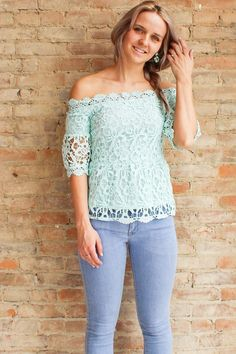 Aquaria Off the Shoulder Top - Aqua - Glamour and Glow  - 1 #offtheshoulder #mint #lace
