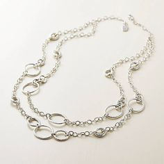 This design is retired from our active line and once the remaining stock is sold, it will no longer be available. Give her a thoroughly modern way to add polish and shine to her look with the Forged Circles Necklace. Circle Necklace, Circles, Fashion Accessories, James Avery, Bracelets, Silver, Stuff To Buy, Larger, Jewelry