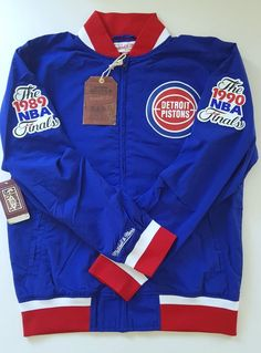 51b265b65 NBA Mitchell   Ness Detroit Pistons Team History Warm up Jacket Basketball  2XL