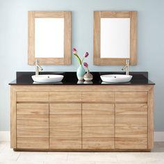 "72"" Bastian Teak Double Vanity for Semi-Recessed Sinks - Whitewash"