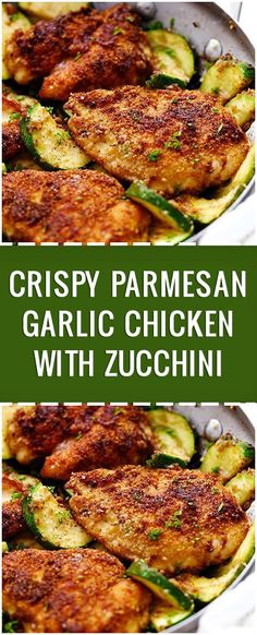 Home Made Doggy Foodstuff FAQ's And Ideas This Crispy Parmesan Garlic Chicken With Zucchini Is One Of The Best 30 Minute Meals You Will Ever Have The Flavor Is Awesome Chicken Parmesan Recipes, Best Chicken Recipes, Zucchini Parmesan, 30 Min Chicken Meals, Best Breaded Chicken Recipe, Garlic Parmesean Chicken, Healthy Garlic Chicken, Meals With Chicken Breast, Bacon