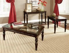 Russian Hill Traditional Cherry Wood Glass Coffee Table Set