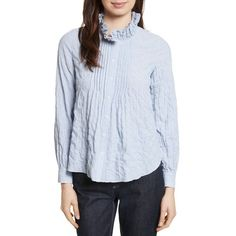 REBECCA TAYLOR Soft Stripe Quilted Shirt (2.644.395 IDR) ❤ liked on Polyvore featuring tops, long sleeve cotton tops, ruched long sleeve top, stripe top, long-sleeve shirt and ruched top