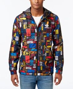 adidas Men's Originals Street Graphic Printed Windbreaker