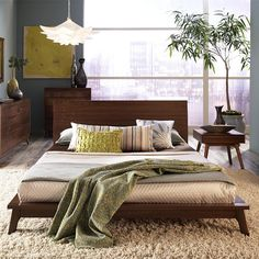 Love this bedroom / space - Catalina Solid Walnut Bed