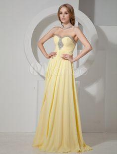 Daffodil Strapless Chiffon Homecoming Dress with Rhinestone Decor - Milanoo.com